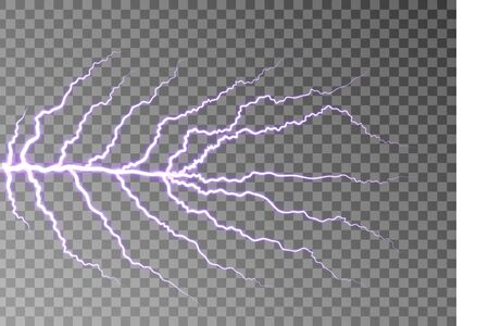 Lightning bolt isolated on dark checkered background. Transparent thunderbolt effect. Realistic lightning decoration pattern. Electric light on sky texture design. Vector illustration Vettoriali