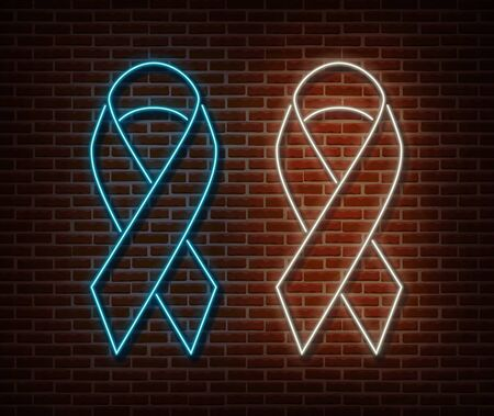 Neon signs vector isolated on brick wall. light symbol, decoration effect. Neon illustration Stock fotó - 132289920