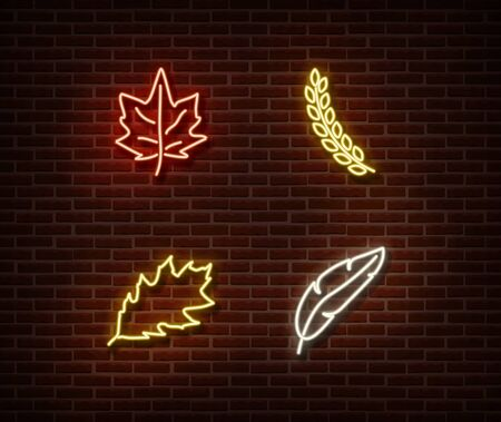 Neon leaves signs vector isolated on brick wall. Ear of wheat, feather, leaf light symbol, autumn decoration effect. Neon oktoberfest illustration