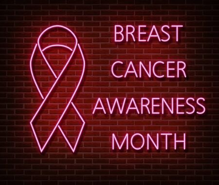 Neon breast cancer awareness signs vector isolated on brick wall. Pink ribbon light symbol, led effect. Neon illustration