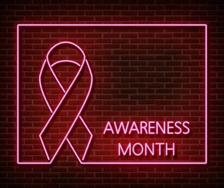 Neon breast cancer awareness signs vector isolated on brick wall. Pink ribbon light symbol, led effect. Neon illustration Stock fotó - 132289924