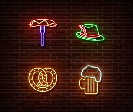 Neon hat, sausage,bake, beer signs vector isolated on brick wall. Oktoberfest light symbol, decoration effect. Neon oktoberfest illustration