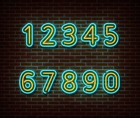 Neon number font signs vector isolated on brick wall. light symbol, decoration effect. Neon illustration Vettoriali