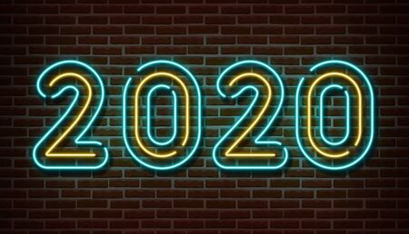 Neon 2020 new year signs vector isolated on brick wall. New year party light symbol, text decoration effect. Neon 2020 illustration Archivio Fotografico - 132289929