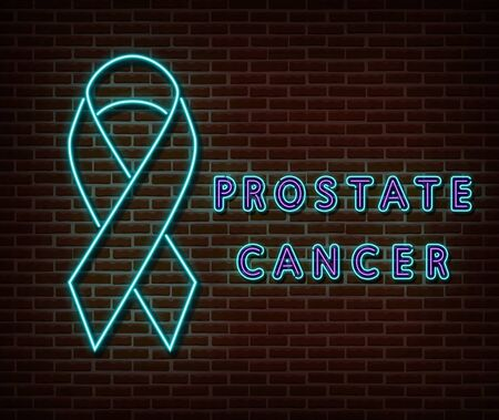 Neon blue ribbon with text signs vector isolated on brick wall. Prostate cancer light symbol, ribbon decoration effect. Neon prostate awareness illustration Archivio Fotografico - 132289930