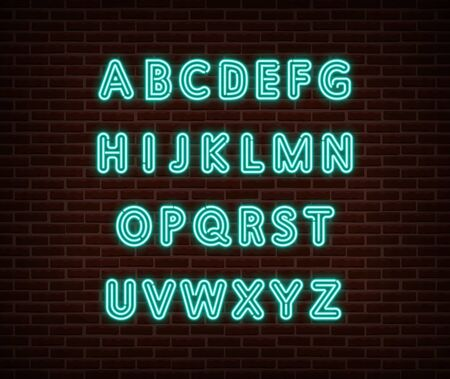 Neon alphabet type font vector isolated on brick wall. ABC typography letters light symbol, decoration text effect. Neon alphabet font illustration Vettoriali