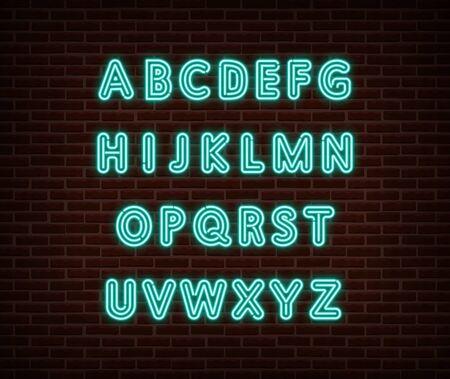 Neon alphabet type font vector isolated on brick wall. ABC typography letters light symbol, decoration text effect. Neon alphabet font illustration Иллюстрация