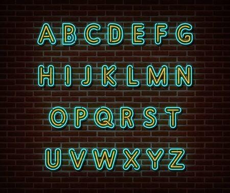 Neon alphabet type font vector isolated on brick wall. ABC typography letters light symbol, decoration text effect. Neon alphabet font illustration Illusztráció