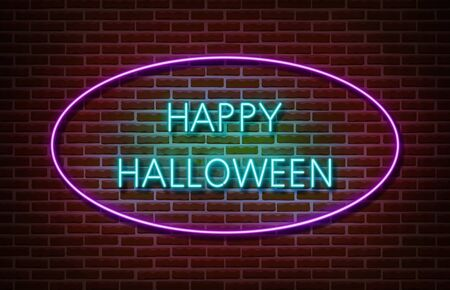 Neon Happy Halloween text signs vector isolated on brick wall. Night party text light symbol, decoration effect. Neon halloween illustration Vettoriali