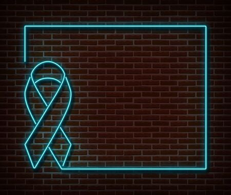 Neon blue ribbon frame signs vector isolated on brick wall. Prostate cancer banner light symbol, ribbon decoration effect. Neon prostate awareness illustration Vettoriali