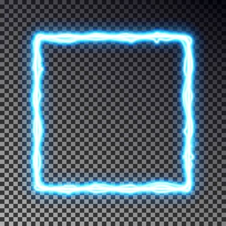 Vector light frame banner isolated on dark background. Shine border in lightning style, transparent effect. Light magic rectangle. Vector illustration Ilustração