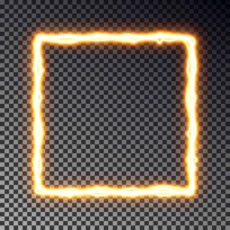 Vector light frame banner isolated on dark background. Shine border in lightning style, transparent effect. Light magic rectangle. Vector illustration Иллюстрация