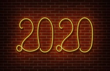Neon 2020 new year signs vector isolated on brick wall. New year party light symbol, text decoration effect. Neon 2020 illustration