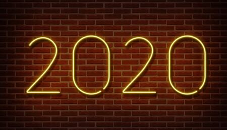Neon 2020 new year signs vector isolated on brick wall. New year party light symbol, text decoration effect. Neon 2020 illustration Archivio Fotografico - 132290041