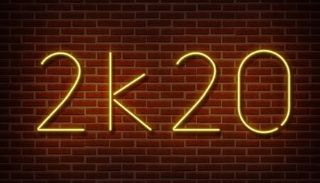 Neon 2k20 new year signs vector isolated on brick wall. New year light symbol, text decoration effect. Neon 2020 illustration