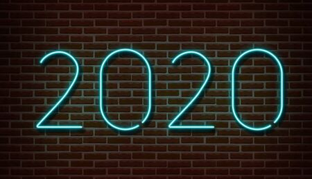 Neon 2020 new year signs vector isolated on brick wall. New year party light symbol, text decoration effect. Neon 2020 illustration Archivio Fotografico - 132290040