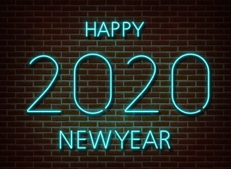 Neon 2020 new year signs vector isolated on brick wall. New year party light symbol, text decoration effect. Neon 2020 illustration. Archivio Fotografico - 132290038