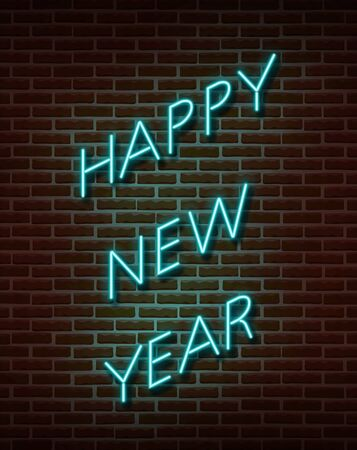 Neon Happy New Year signs vector isolated on brick wall. New Year party light symbol, text decoration effect. Neon illustration.