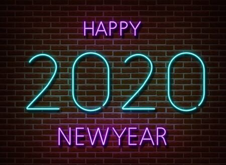 Neon 2020 new year signs vector isolated on brick wall. New year party light symbol, text decoration effect. Neon 2020 illustration. Stock fotó - 132290045
