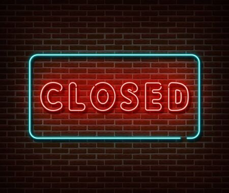 Neon closed sign vector isolated on brick wall. Close bar banner light symbol, decoration effect. Neon illustration