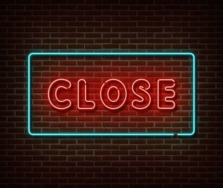 Neon closed sign vector isolated on brick wall. Close bar banner light symbol, decoration effect. Neon illustration. Vettoriali