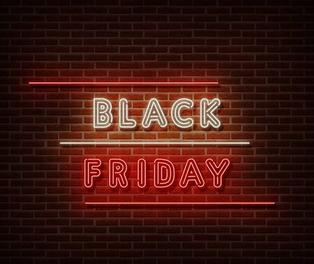 Neon Black Friday text banner vector isolated on brick wall. Special price offer light symbol, decoration text effect. Neon black friday sale illustration. Иллюстрация