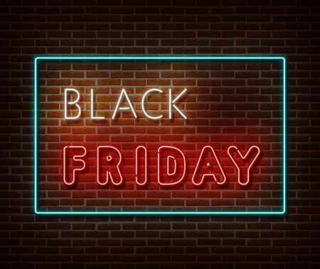 Neon Black Friday text banner vector isolated on brick wall. Special price offer light symbol, decoration text effect. Neon black friday sale illustration. Vettoriali