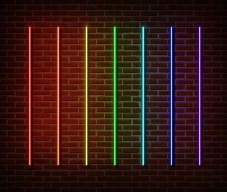 Neon sticks collection vector isolated on brick wall. Neon line light symbol, decoration effect. Neon rainbow laser illustration. Vettoriali