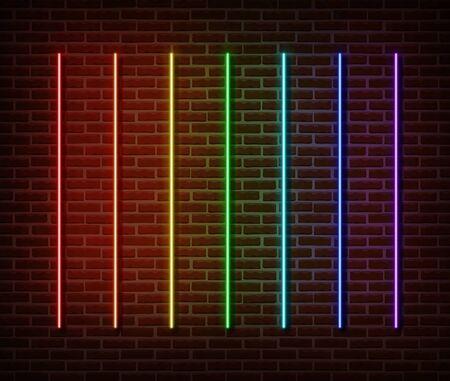 Neon sticks collection vector isolated on brick wall. Neon line light symbol, decoration effect. Neon rainbow laser illustration. Иллюстрация