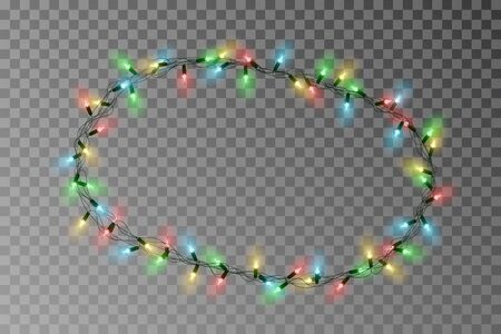 Christmas lights oval border vector, light string frame isolated on background with copy space. Transparent decorative garland.