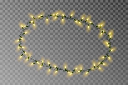 Christmas lights oval border vector, light string frame isolated on background with copy space. Transparent decorative garland. Archivio Fotografico - 132290046