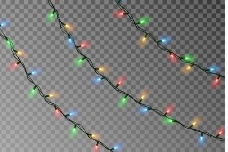 Christmas lights string vector. Transparent effect decoration isolated on background. Realistic Christmas color garland vector. Winter xmas glowing lights string. Vector banner illustration.