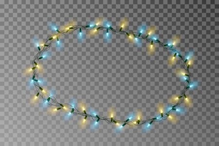 Christmas lights oval border vector, light string frame isolated on background with copy space. Transparent decorative garland. Archivio Fotografico - 132290047