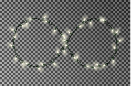Christmas lights vector, light string in infinity style sign. Vettoriali