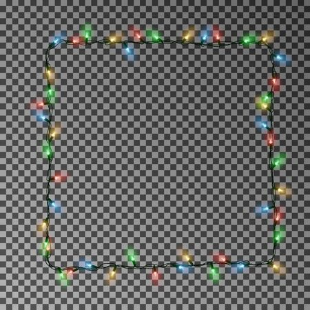 Christmas lights square vector, light frame isolated.