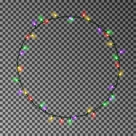 Christmas color lights circle. Garland wreath decorations. Archivio Fotografico - 137129094