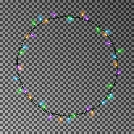 Christmas color lights circle. Garland wreath decorations. Glowing string for Xmas Holiday. Vector illustration. Archivio Fotografico - 132534021