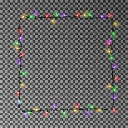 Christmas lights square vector, light frame isolated. Xmas light border effect.