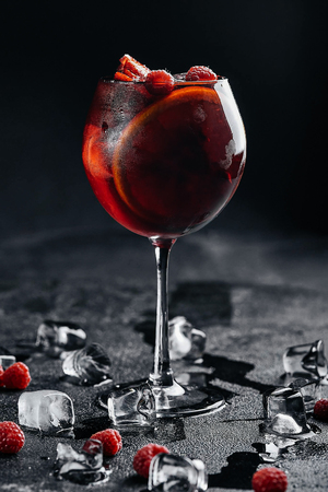 Glass of frozen sangria isolated on  background Banque d'images