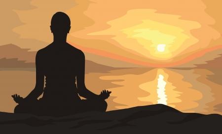 legged: sunset yoga woman on sea coast Stock Photo