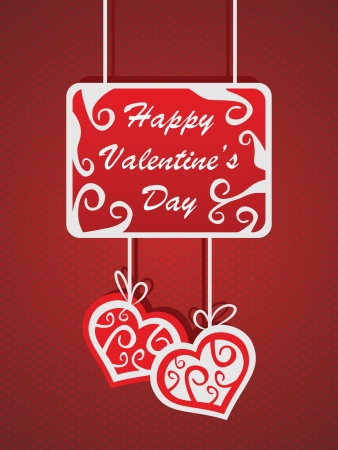 Red valentine s day card with hearts