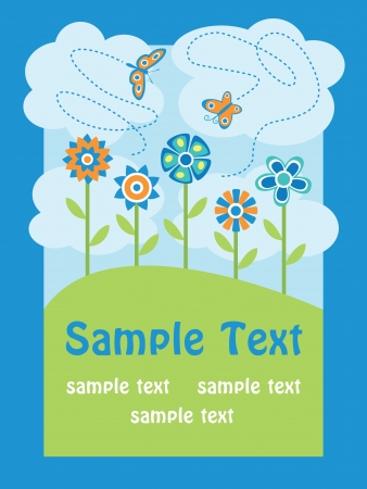 cute greeting card with flowers and butterflies Vector