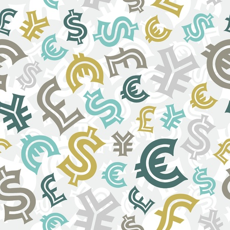 business symbols and metaphors: Currency signs  Seamless pattern background  Illustration