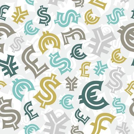 Valuta tekenen Naadloze patroon achtergrond
