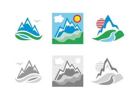 river rock: Mountains emblem set