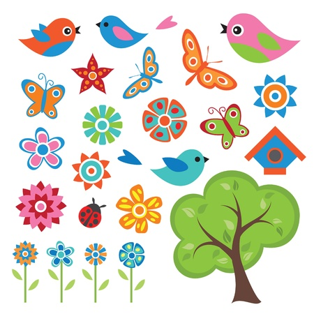 Colorful Spring Set Vector