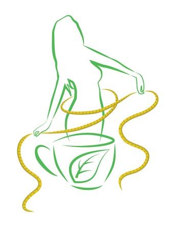 Tè per la perdita di peso, vettore, illustrazione Archivio Fotografico - 18540249