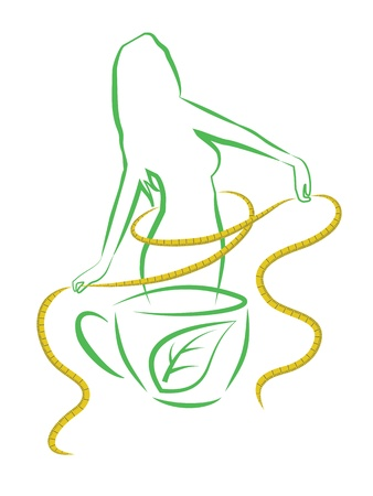 slim women: Tea for weight loss  Vector illustration