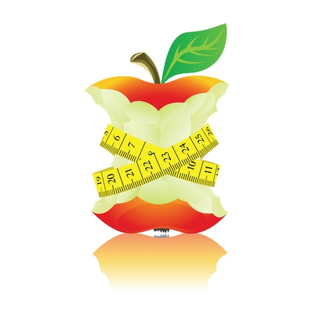 weight control: Apple with measure tape  Illustration on white background