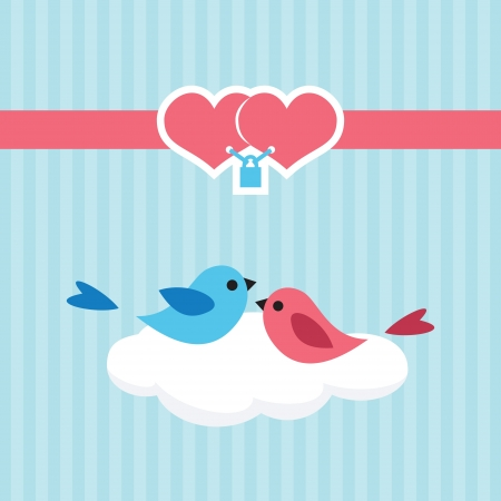Birds in love on a cloud  Cute illustration